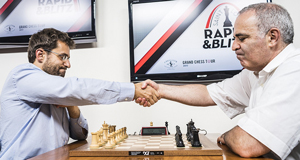 Aronian and Kasparov meet on the final day. Photo ©