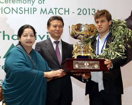 Photo of Magnus Carlsen & his friend  Ms J Jayalalitha -