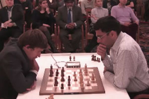 Karjakin and Anand in their final rapid game. Photo ©