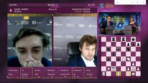 Dubov almost beat Carlsen on the final day. They will now face each other in the KO phase. Photo ©
